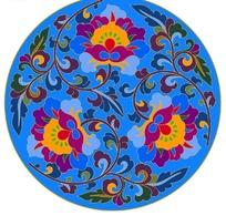 圆形蓝色背景上的缠枝莲