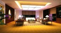 中式接待厅室模型图片素材