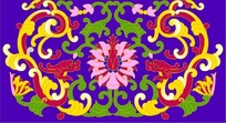 紫色背景上的双龙缠枝莲图案