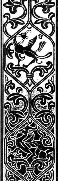 长方形带抽象动物的黑白线描花边图片