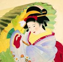 撑伞的日本女子绘画