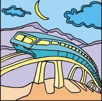 高速行驶的地铁矢量插画