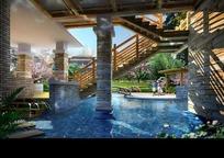 公园水池桥涵设计效果图