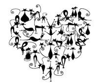 黑色卡通猫组成的心形图案