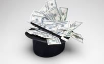 黑色魔术帽中冒出的大量美钞
