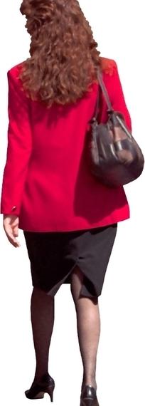 红衣女子背影PSD抠图素材