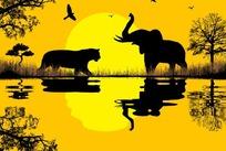 卡通动物剪影与水面倒影