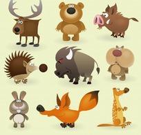 米黄色背景上的卡通动物