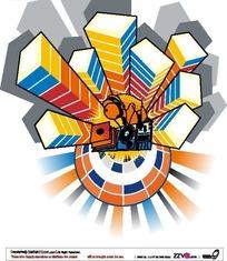手绘DJ打碟彩色音乐柱子流行图案