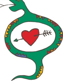 手绘绿色的蛇和一箭穿心