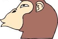 手绘一只猴子的头像矢量素材
