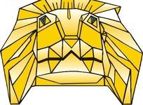 手绘一只金色的狮子头像矢量素材