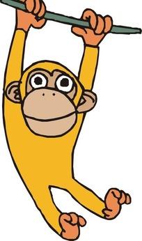 手绘一只可爱的金色小猴子