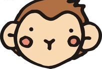 手绘一只可爱的小猴子头像