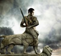 手拿宝剑的狮身人面的成熟男人