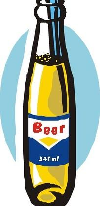 一瓶啤酒手绘素材