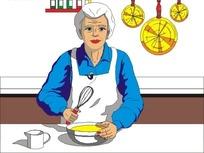 厨房的老奶奶插画