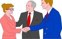 卡通画初次见面握手的人