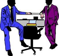 卡通画两个身着正装的男士