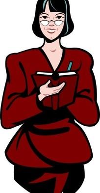 卡通画拿着本子记东西的女士
