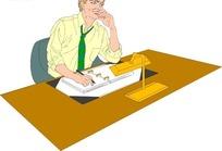 卡通画手托着头思考问题的男士