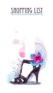 手绘穿着黑色带花高跟鞋的脚