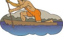 手绘小船上单腿跪立着划船的人