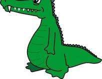 手绘一只有锋利牙齿的绿色鳄鱼