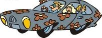 贴满花纹图案的汽车