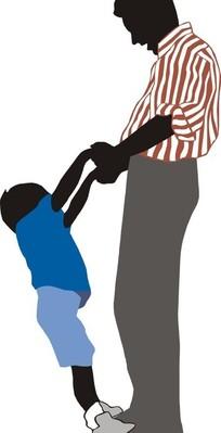 爸爸抱小孩剪影插画