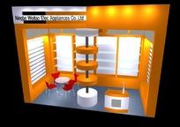 橙色简洁展厅效果图3D模板素材