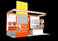 橙色时尚产品展厅效果图3D模板素材