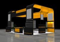 橙色时尚简约风格展厅设计效果图