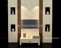 带装饰柜的背景墙3D效果图