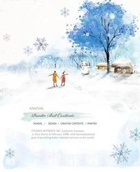 冬天户外牵手男女卡通插画