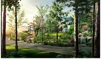风景如画的公园景观效果图PSD素材