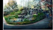 公园瀑布景观效果图PSD素材