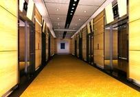 简约风格橙色背景电梯厅装饰效果图