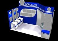 蓝色简洁展厅效果图3D模板素材