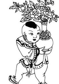 年画线描图—捧着花瓶的仙童