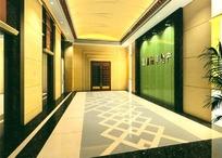 暖色调橙色背景电梯厅装饰设计效果图
