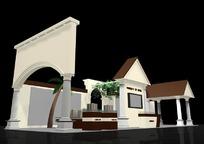 欧式风格产品展厅效果图3D模板素材