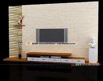 清新简约背景墙3D效果图