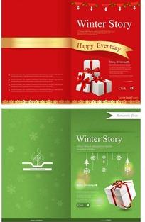 时尚欧美风格圣诞贺卡折页矢量素材