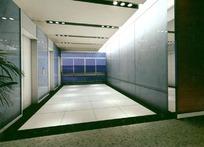 银灰色简约电梯厅装饰设计效果图