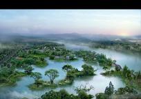 园林湖泊景观效果图PSD素材