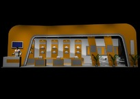 橙色背景产品展示厅设计效果图