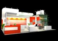 创意橘色展厅设计模型