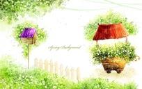 春天绿树鸟巢卡通插画