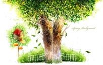 大树卡通房子鸟窝漫画素材